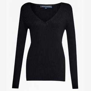 French Connection Bambino Ribbed V-Neck Sweater XS
